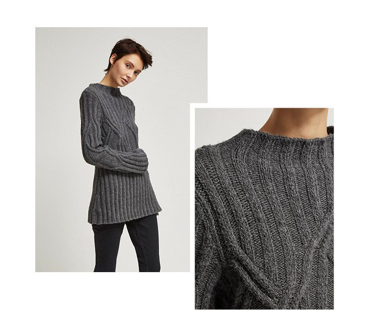 Women's grey cable knit jumper