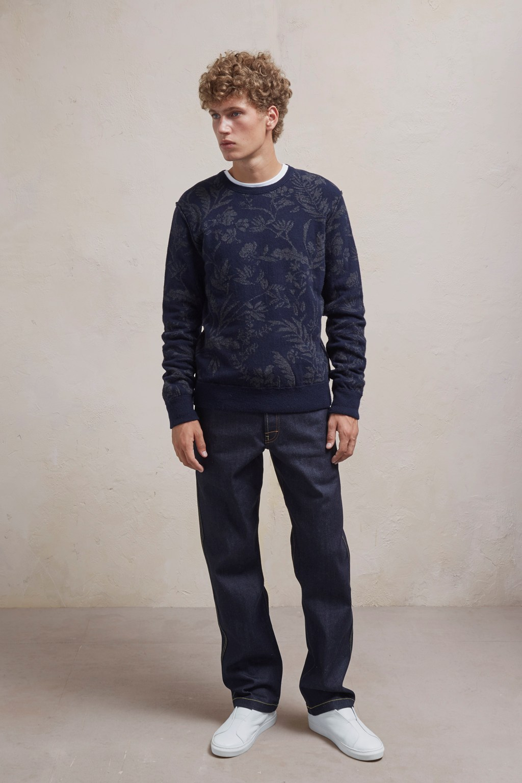 Men's Jumpers - Fumio Jaquard Lambswool Sweatshirt