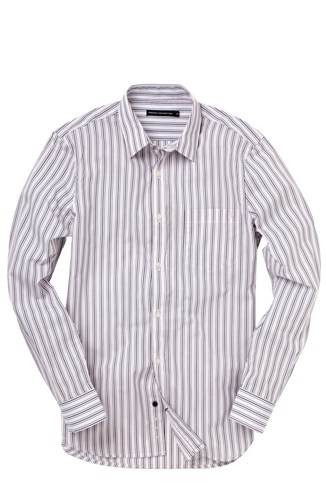 Slim Fitting 1 Pocket Striped Shirt Pink