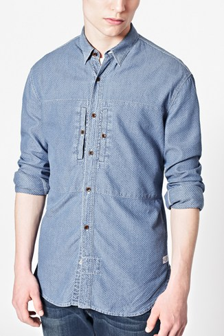 Indigo Dobby Textured Shirt
