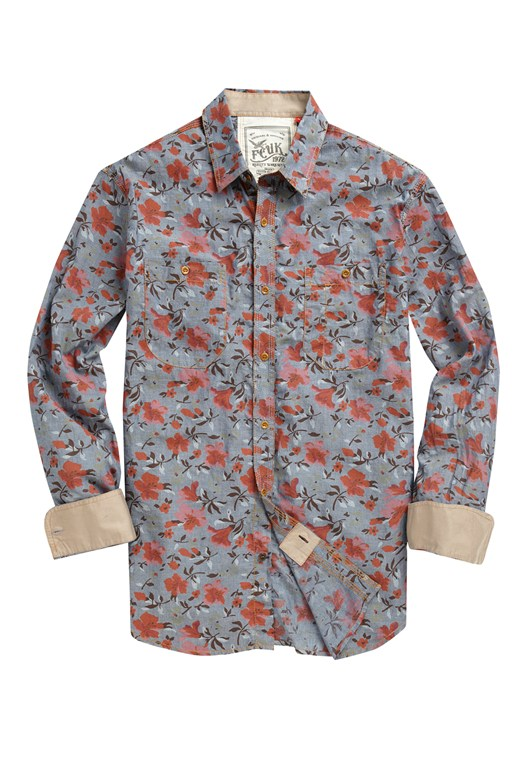 Print Chambray Shirt Blue