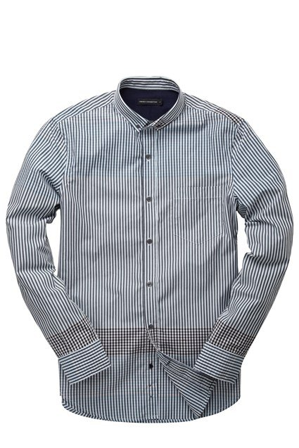 Block Stripe Cotton Shirt Blue