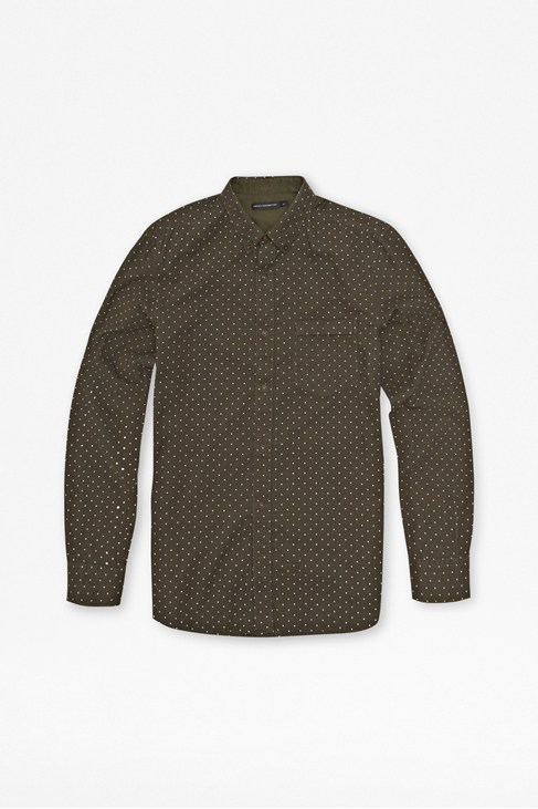 Chain-Lock Polka Dot Corduroy Shirt