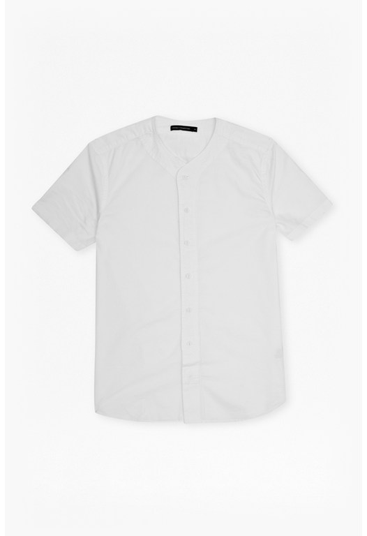 Collarless Sporty Oxford Shirt
