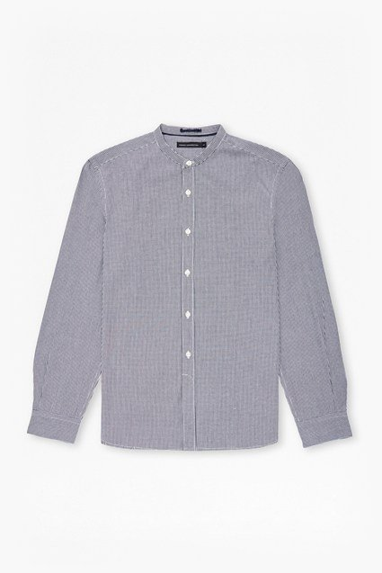 Gingham Grandad Collar Shirt