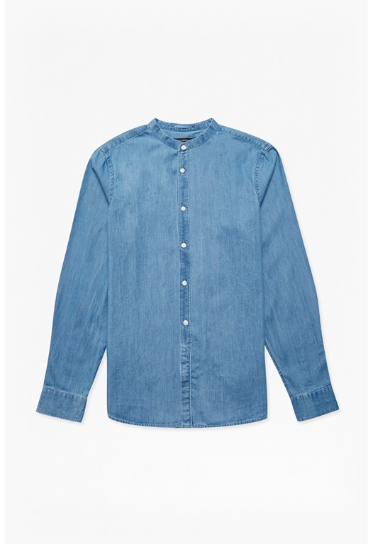Grandad Collared Denim Shirt