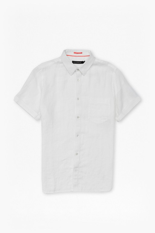 linen chambray short sleeved shirt