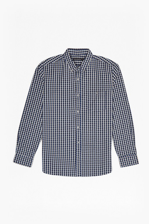 checked and striped cotton shirt