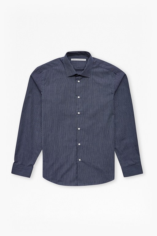 navy textured skinny stripe shirt