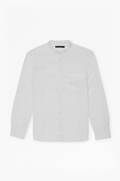 solid grandad collar shirt