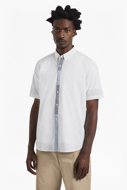 Poplin Patchwork Placket Short Sleeve Shirt