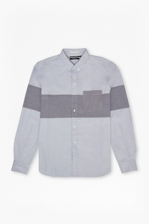 chest panel stripe regular fit shirt