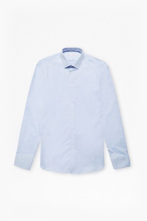 sky oxford spot slim fit shirt