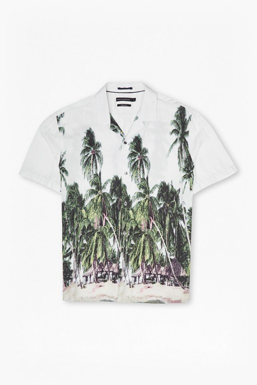palm tree printed short sleeve shirt