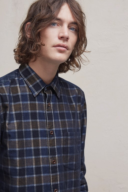 contrast corduroy checked shirt