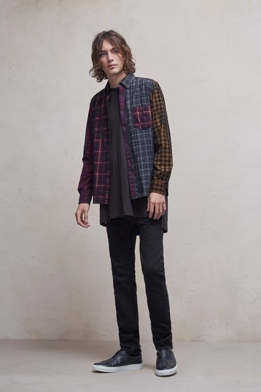 patchwork corduroy multi checked shirt