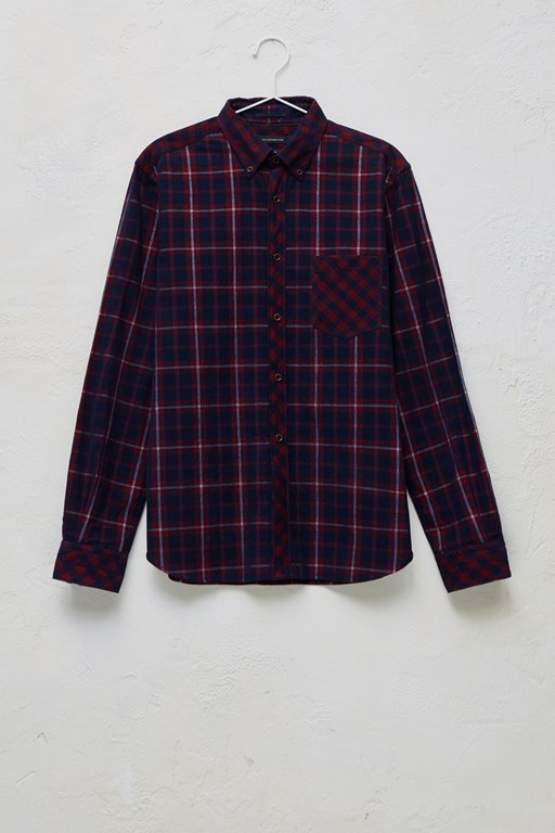 pattern block corduroy checked shirt