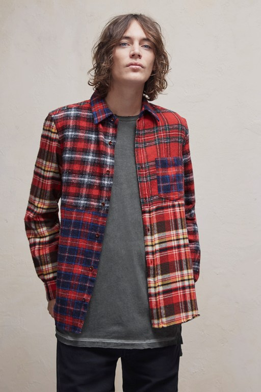block patchwork flannel checked shirt