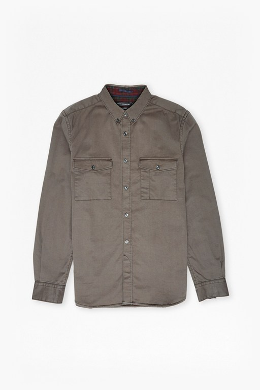 stretch twill and tartan shirt