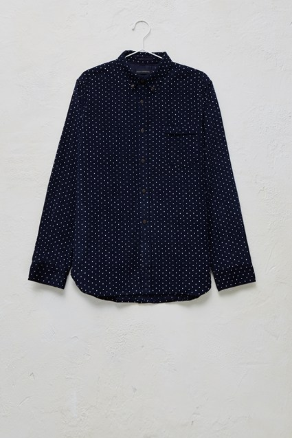 Chain-Lock Corduroy Polka Dot Shirt