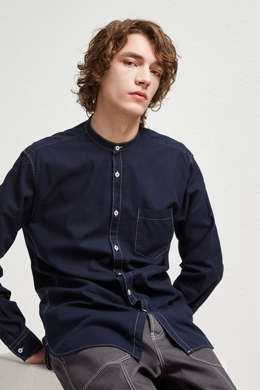 overdyed oxford grandad collar shirt
