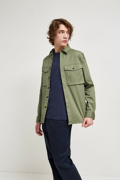 military broken twill shacket
