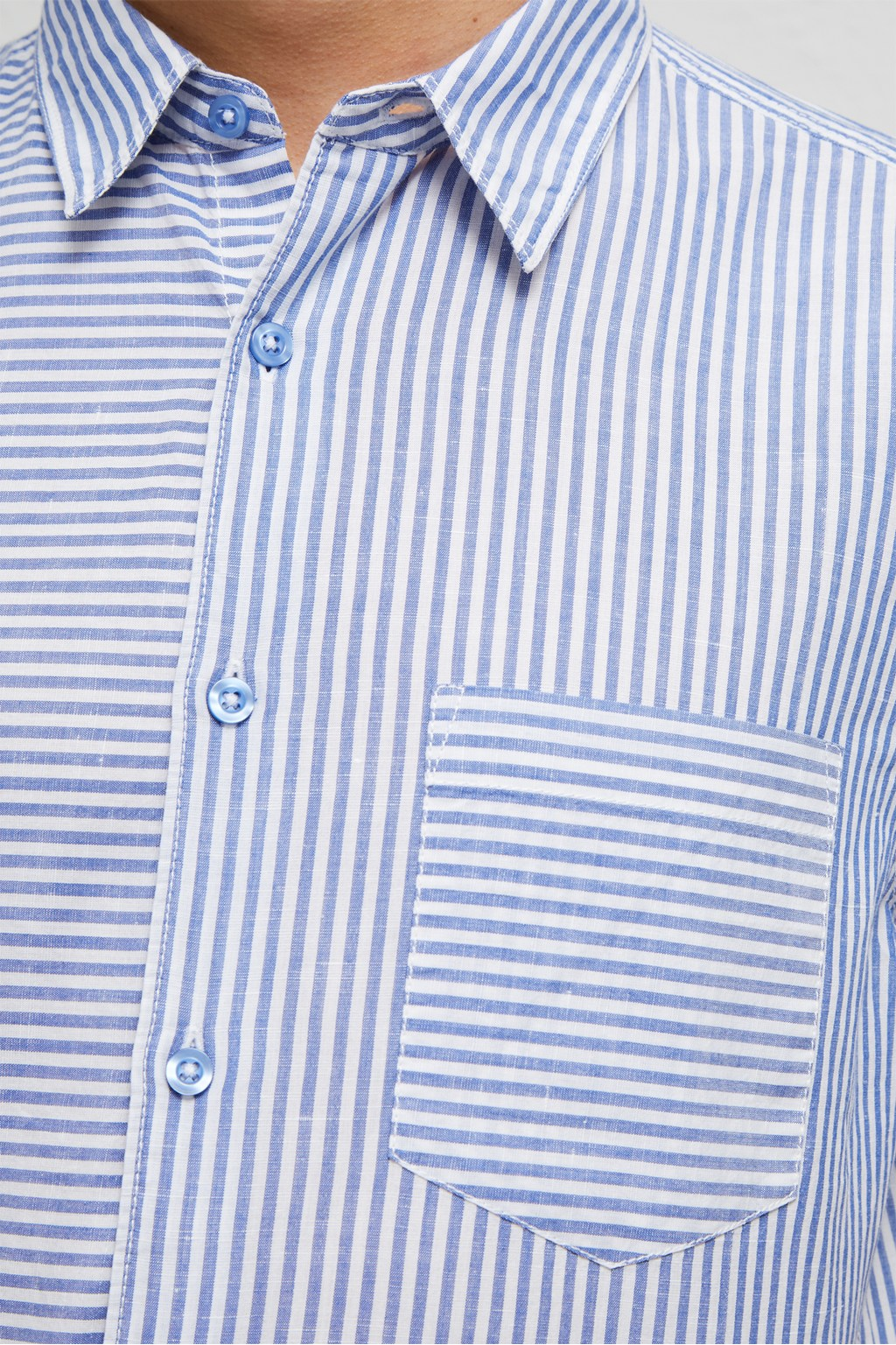 9b4c57e99 Cotton Linen Chambray Stripe Shirt | Clean Up 2018 Mens | French ...