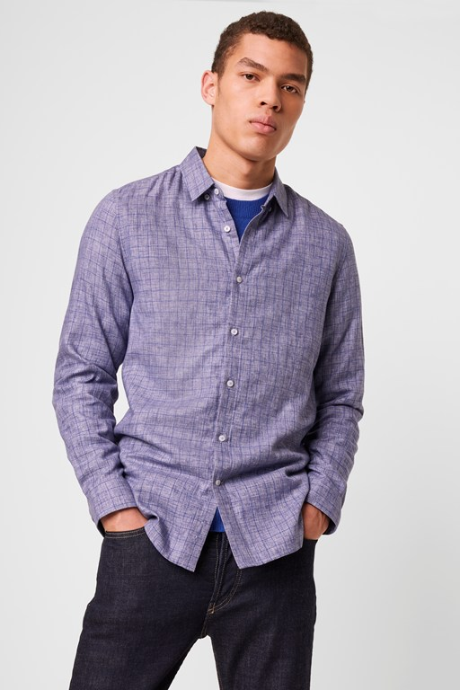 melange windowpane check shirt