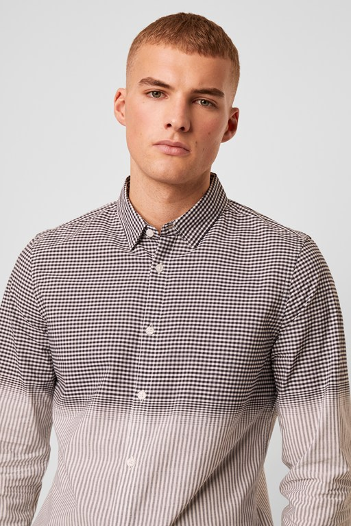 gradient check stripe shirt