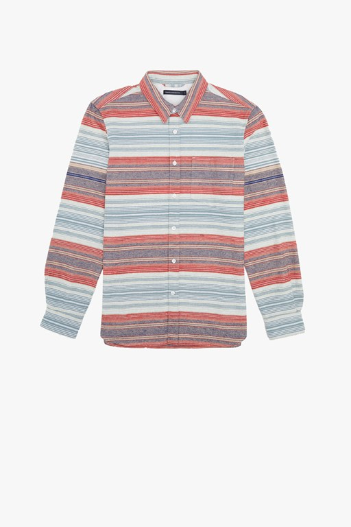 horizontal stripe flannel shirt