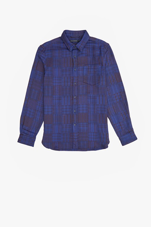 overdyed patchwork shirt