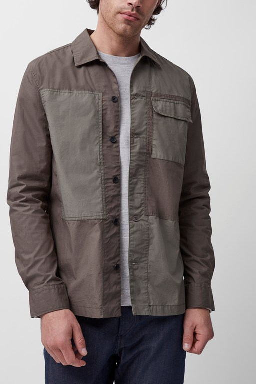 stone wash military patchwork shacket