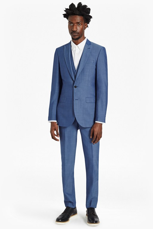 Slim Mid Blue Suit Trousers