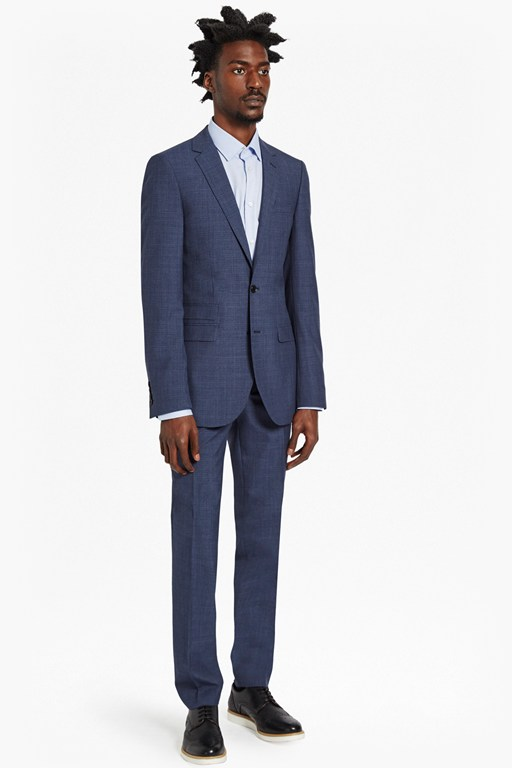 Complete the Look Textured Blue Suit Trousers