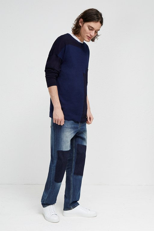 track denim loose tapered jeans
