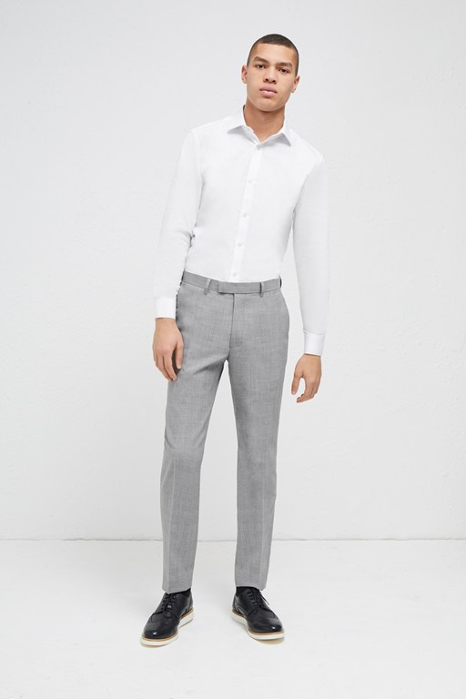 light grey milled suit trousers