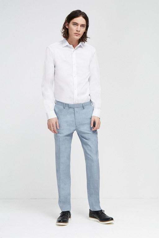 sky blue marl suit trousers