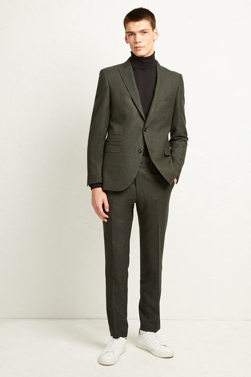 olive flannel suit trousers
