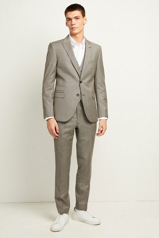 Complete the Look Light Grey Dogtooth Check Suit Trousers