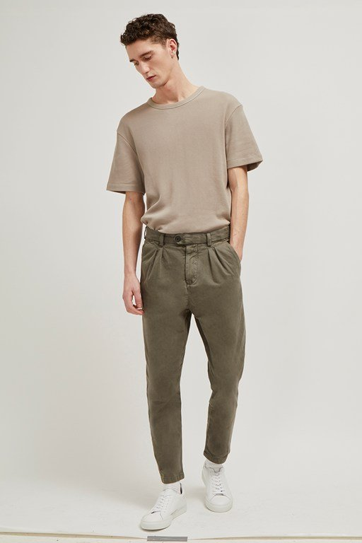 inter peach drill slim trousers