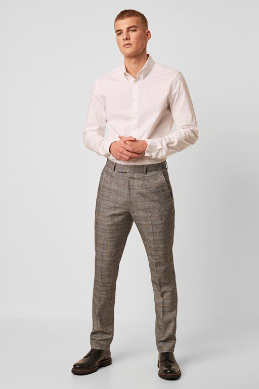 grey check suit trouser