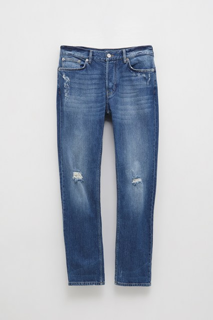 Winter Indigo Distressed Denim Jeans