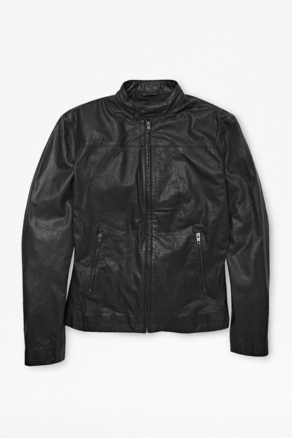Leather High Neck Biker Jacket