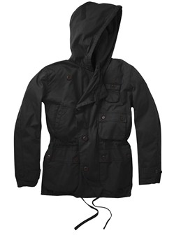 French Connection Waxed Hooded Jacket Black