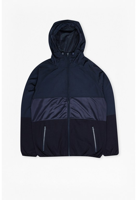 Mixed Nylon Run Hooded Jacket