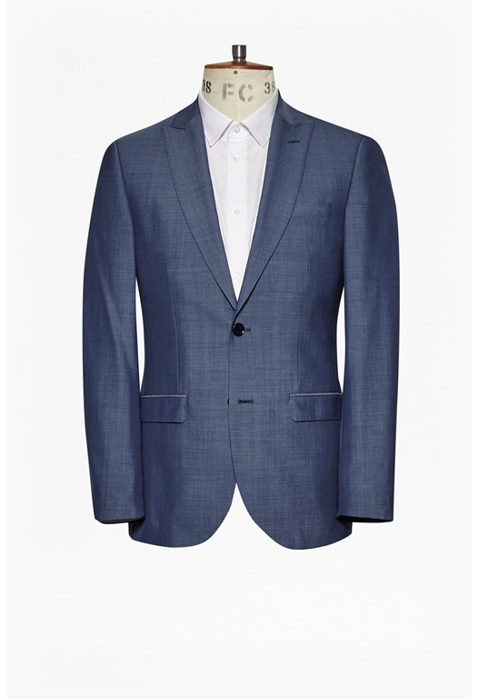 MB Blue Wool Blend Suit Jacket