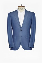 Looks Great With Slim Mid Blue Suit Jacket