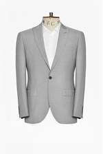 Looks Great With Slim Light Grey Suit Jacket