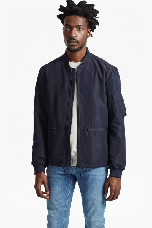 patiala perforated bomber jacket