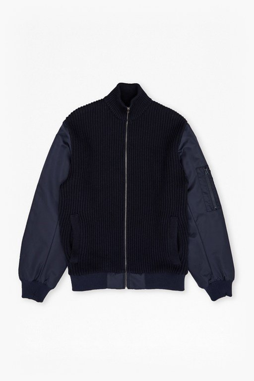 hybrid ribbed ma1 bomber jacket